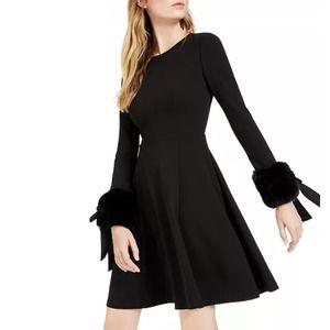 Calvin Klein Faux-Fur-Cuff Fit & Flare Dress Black